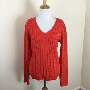 Ralph Lauren Women's Orange Cable Knit Sweater L